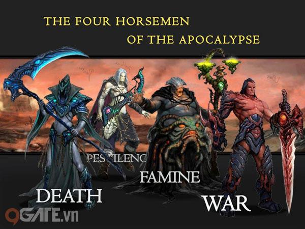 Với 4 kỵ sĩ Khải huyền: Pestilence (bệnh dịch), Famine (nạn đói), Death  (cái chết), War (chiến tranh) cùng nhiều thiên thần Lucifer, Micheal và ác  quỷ như ...