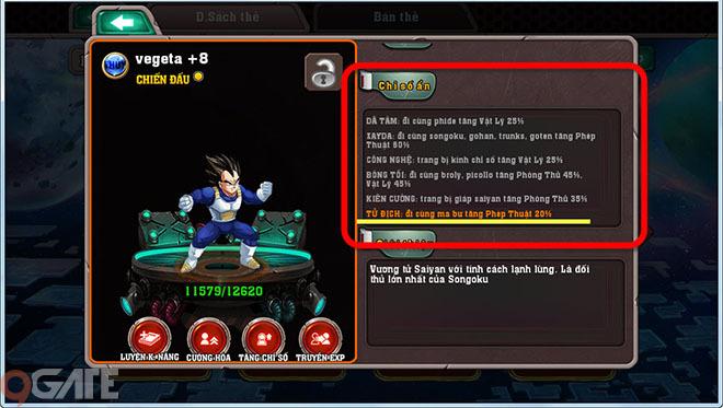 Nhân vật Songoku – nếu đứng trong đội hình có đủ Gohan, Goten, ChiChi,  Bardock thì Songoku sẽ được tăng sức mạnh phép thuật thêm 60%, mức tăng rất  khủng ...