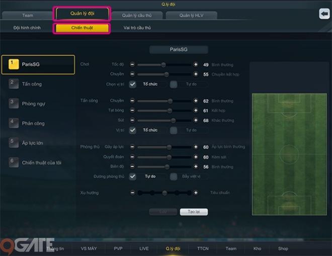 Ngư�i chơi có thể lựa ch�n chiến thuật thi đấu qua các phím số từ 1 đến 6  (trên bàn phím) được thiết lập lần lượt cho các chế độ thi đấu: Mặc ...