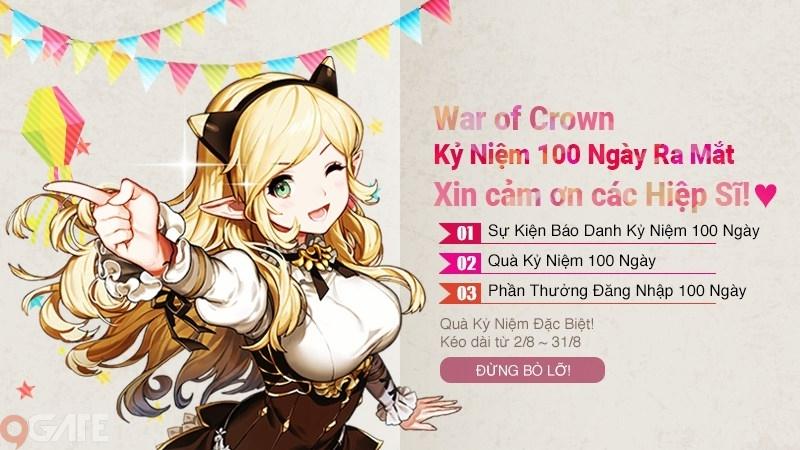 """War of Crown """"Cầu Hôn"""" Game Thủ Với Bản Update Khủng Mừng 100 Ngày Ra Mắt"""