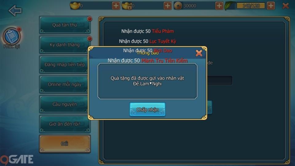 Thanh Vân Chí 3D Mobile: Hướng dẫn nhập Giftcode