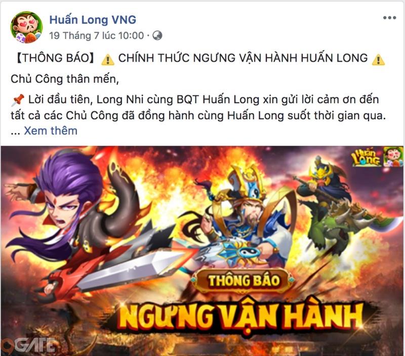 Huấn Long VNG sẽ ngừng phát hành kể từ ngày 01/09/2018.