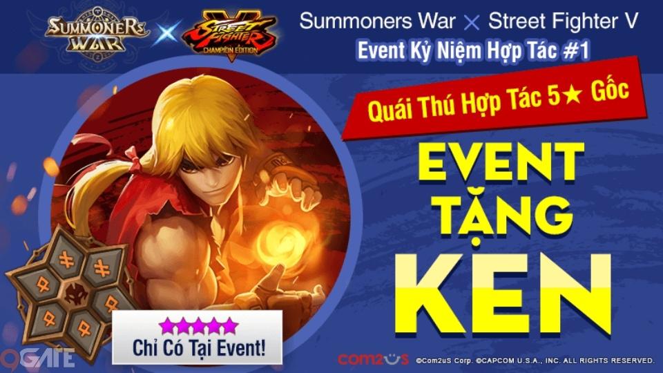 Nhận quái thú KEN 5★ giới hạn mừng cập nhật hợp tác Summoners War và Street Fighter V: Champion Edition