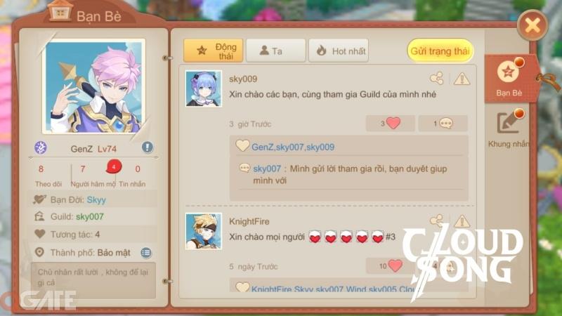 Cloud Song VNG: Cho phép người chơi mở trang cá nhân và tương tác ngay trong game