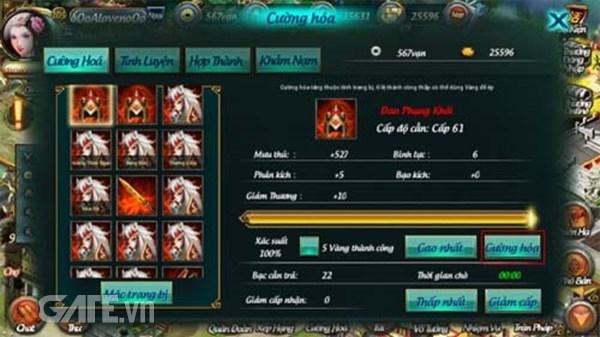 Sau khi người chơi đã có trang bị thì có thể tiến hành cường hóa để tăng  chỉ số cơ bản lên và mạnh hơn.