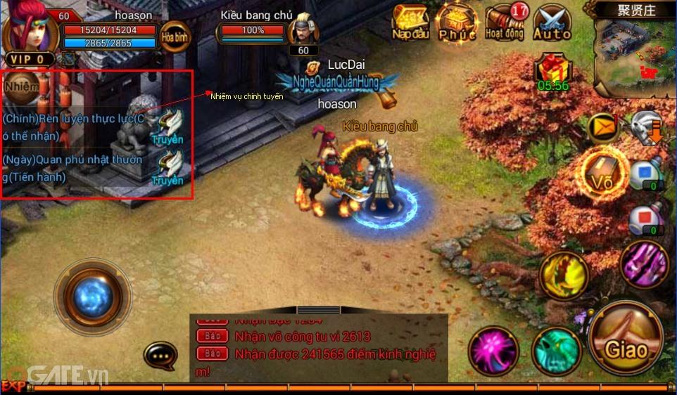 Dưới đây là những hoạt động giúp game thủ có thể nhận được điểm tu vi trong 6D  Võ Lâm.