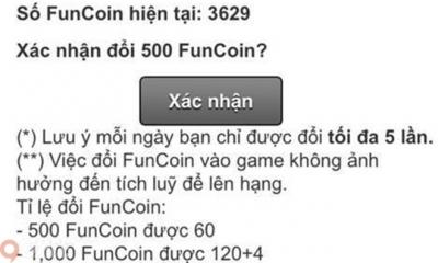 Hướng dẫn đổi Funcoin thành KC miễn phí trong Đấu Trường Mega XY
