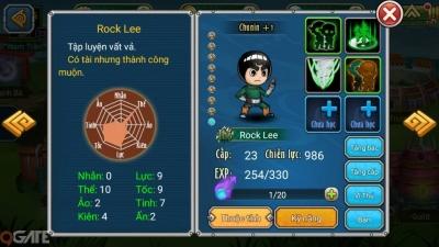 Naruto Đại Chiến: Giới thiệu nhân vật game Rock Lee
